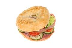 Ham salad bagel Royalty Free Stock Images