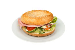 Ham salad bagel Stock Photo