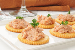 Ham salad on crackers Stock Image