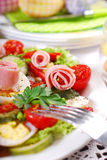 Ham salad with eggs and vegetables for easter Royalty Free Stock Images