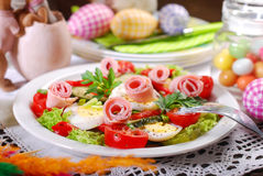 Ham salad with eggs and vegetables for easter Stock Image
