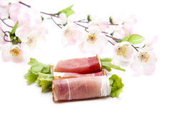 Ham with salad leaf rolled Stock Photography