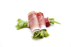 Ham with salad leaf rolled Royalty Free Stock Image