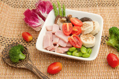 Ham salad and mix vegetable Stock Image