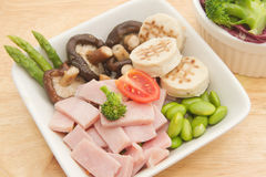 Ham salad and mix vegetable Royalty Free Stock Photography