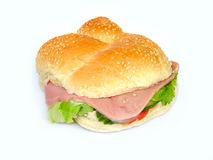 Ham salad roll. Ham salad bread roll stock image