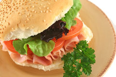 Ham And Salad Roll Stock Image