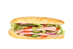 Ham salad roll isolated. Ham salad in a giraffe bread roll isolated against white Stock Photography
