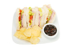 Ham salad sandwich. With potato chips and pickle Stock Image