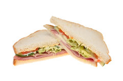 Ham salad sandwich. Closeup of a ham salad sandwich isolated against white Stock Photography