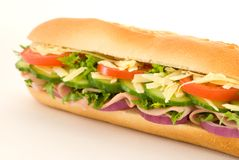 Ham Salad Sandwich. Angled view of a ham salad baguette sandwich Royalty Free Stock Images