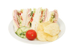 Ham salad sandwich and garnish. On a plate Stock Photography