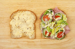 Ham salad sandwich. Ingredients on a wooden board Royalty Free Stock Images