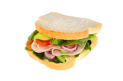 Ham salad sandwich. Ham and salad sandwich isolated against white Stock Image