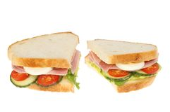 Ham salad sandwich isolated Stock Images