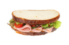 Ham salad sandwich isolated. Thick cut ham salad sandwich isolated against white Royalty Free Stock Image