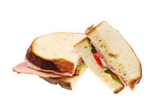 Ham salad sandwich. Made with crusty white bread isolated on white Royalty Free Stock Images