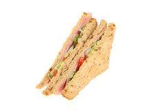 Ham salad sandwich. Made with multi grain bread isolated against white Royalty Free Stock Image