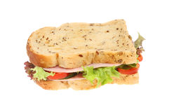Ham salad sandwich. Made with seeded bread isolated against white Royalty Free Stock Images