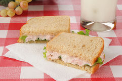 Ham salad sandwich and milk Royalty Free Stock Photography