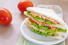 A ham salad sandwich. On oat bread Stock Photography