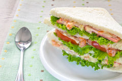 A ham salad sandwich. On oat bread Stock Image