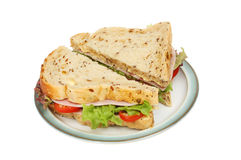 Ham salad sandwich on a plate Stock Image