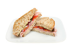 Ham salad sandwich on plate Royalty Free Stock Photography