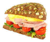 Ham Salad Sandwich On Pumpernickel Bread. Isolated on a white background Royalty Free Stock Photos