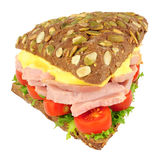 Ham Salad Sandwich On Pumpernickel Bread. Isolated on a white background Stock Image