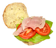 Ham And Salad Sandwich Roll Royalty Free Stock Image