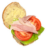 Ham And Salad Sandwich Roll Stock Photo
