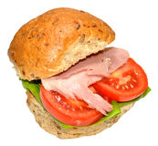 Ham And Salad Sandwich Roll Stock Image