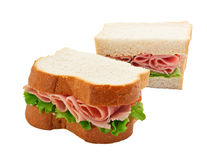 Ham salad sandwich sliced bread. A ham salad sandwich made with freshly sliced bread cut in half with focus on the filling Royalty Free Stock Photos
