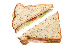 Ham salad sandwich. In soya and linseed bread  against white Stock Photo