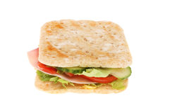 Ham salad sandwich. Thin isolated against white Royalty Free Stock Photo
