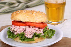 Ham Salad Sandwich. Ham salad with tomato and lettuce on a bun Stock Image