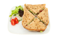 Ham salad sandwich. Top view of a ham salad sandwich with garnish on a plate isolated against white Stock Photo