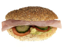 Ham and Salad Seeded Roll. Isolated white background Royalty Free Stock Images