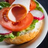 Ham, salad submarine sandwich Royalty Free Stock Photos