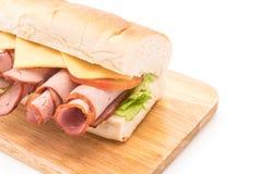 Ham and salad submarine sandwich Stock Photo