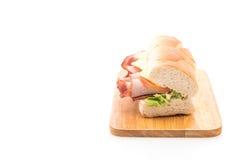 Ham and salad submarine sandwich Stock Images