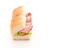 Ham and salad submarine sandwich Royalty Free Stock Photography