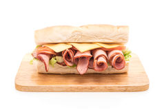 Ham and salad submarine sandwich Royalty Free Stock Photos