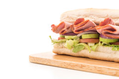 Ham and salad submarine sandwich Royalty Free Stock Image