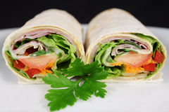 Ham And Salad Wrap 2 Stock Photos