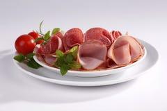 Ham and salami stock image