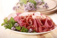 Ham and salami royalty free stock photo