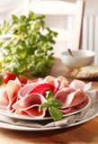 Ham and salami. Plate full of sliced salami and ham royalty free stock photo