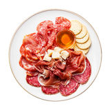 Ham, salami, cheese and honey Stock Photography